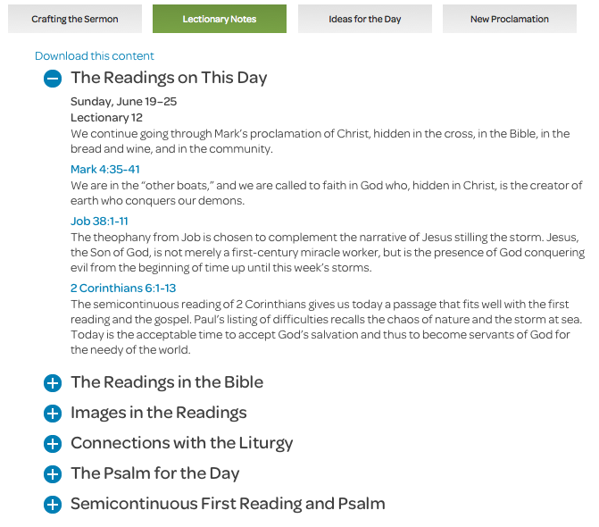 preaching page lectionary notes tab