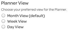 personal settings, select calendar view