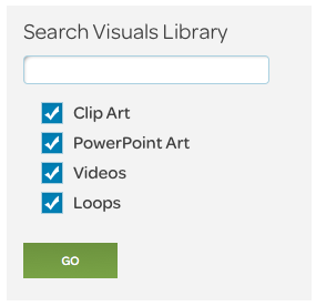 visuals page search box
