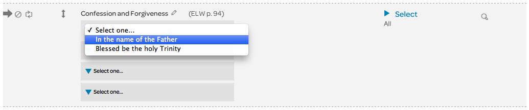 content options drop down menu
