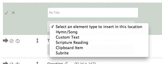 insert element, choose element type