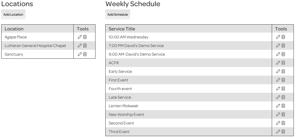 account settings, locations and schedule