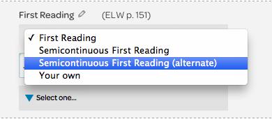 reading element, drop down menu