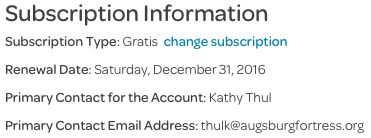 account settings, subscription information