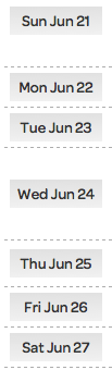 week view, date buttons